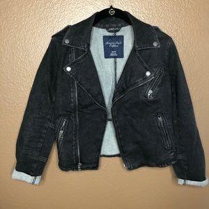 American Eagle Black Denim Zipper Jacket